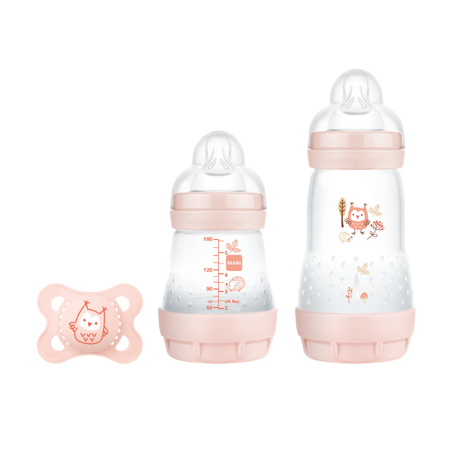 MAM Babyflasche Easy Start Anti Colic-Elements Starter Set S Eule in rosa