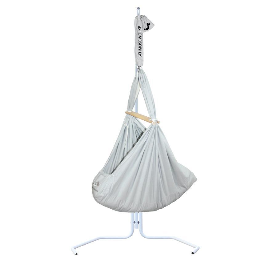 SCHMUSEWOLKE Baby Federwiege inklusive Kunstfaser-Matratze und Gestell PopArt Stone Grey