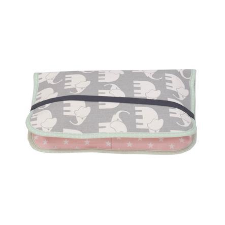 Ullenboom Pochette à langer patchwork éléphant menthe/rose