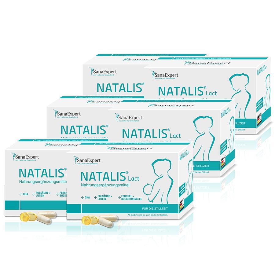 SanaExpert Nahrungsergänzungsmittel Natalis Lact Vitamine und DHA für die Stillzeit mit Folsäure, Fenchel und Bockshornklee 6 x Monatspackung á 90 Kapseln