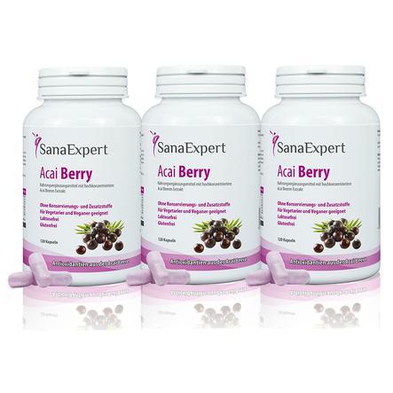SanaExpert Nahrungsergänzungsmittel Acai Berry mit reinem Acai-Beeren-Extrakt und Antioxidantien ohne Zusätze, vegan, 3 x 120 Kapseln