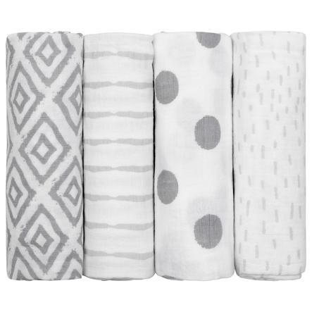 couches en mousseline emma & noah set of 4 lozenges grey 70 x 70 cm