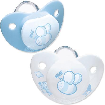 NUK Trendline Baby Blue Succhietto in silicone senza anello, Misura 1