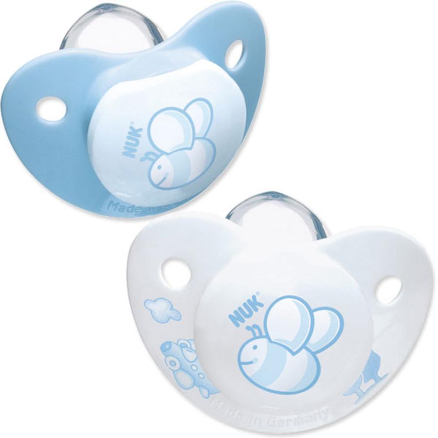 NUK Lot de 2 sucettes physiologiques Trendline Baby Blue silicone T. 1