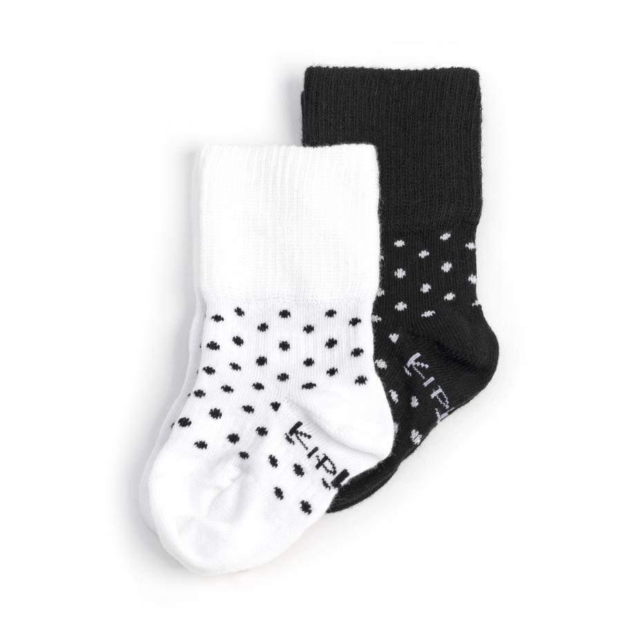 KipKep Stay-On Socken 2er-Pack Black-n-White Dotted