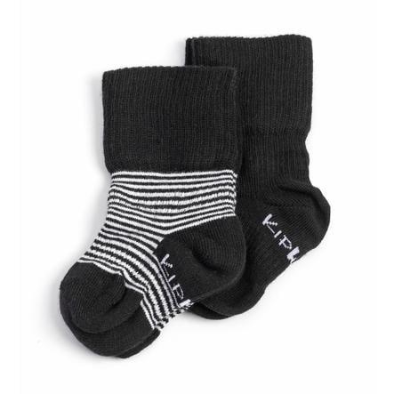 KipKep Stay-On Socken 2er-Pack Black-n-White Striped