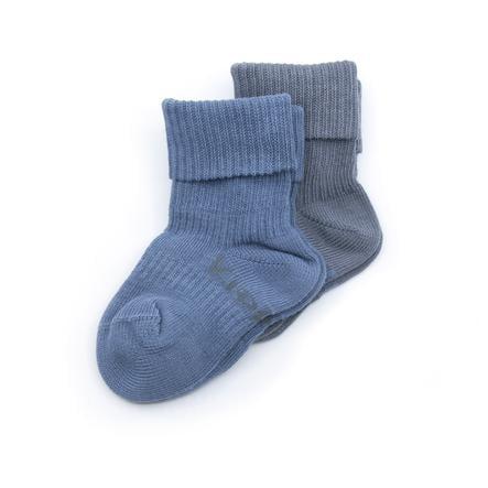 KipKep Lot de 2 chaussettes Stay-On Denim Blue Organic