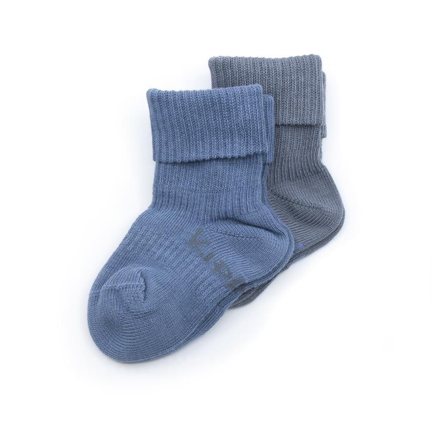 KipKep Stay-On Socks 2-Pack Denim Blue Organic