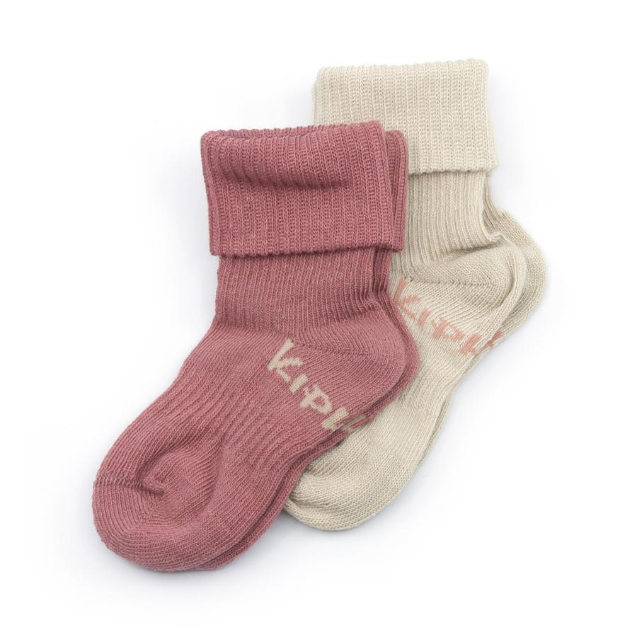KipKep Stay-On Socken 2er-Pack Dusty Clay Bio
