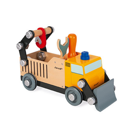"""Janod® BRICO'KIDS Bausatz """"Bauwagen Truck"""" (Holz) gelb"""