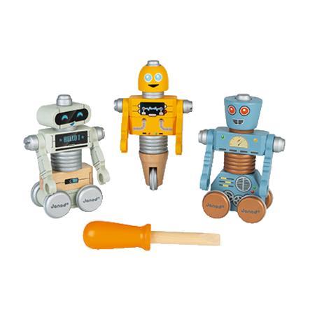 Janod® BRICO'KIDS Schraub-Roboter (Holz) zum Zusammenbauen (53 Teile)