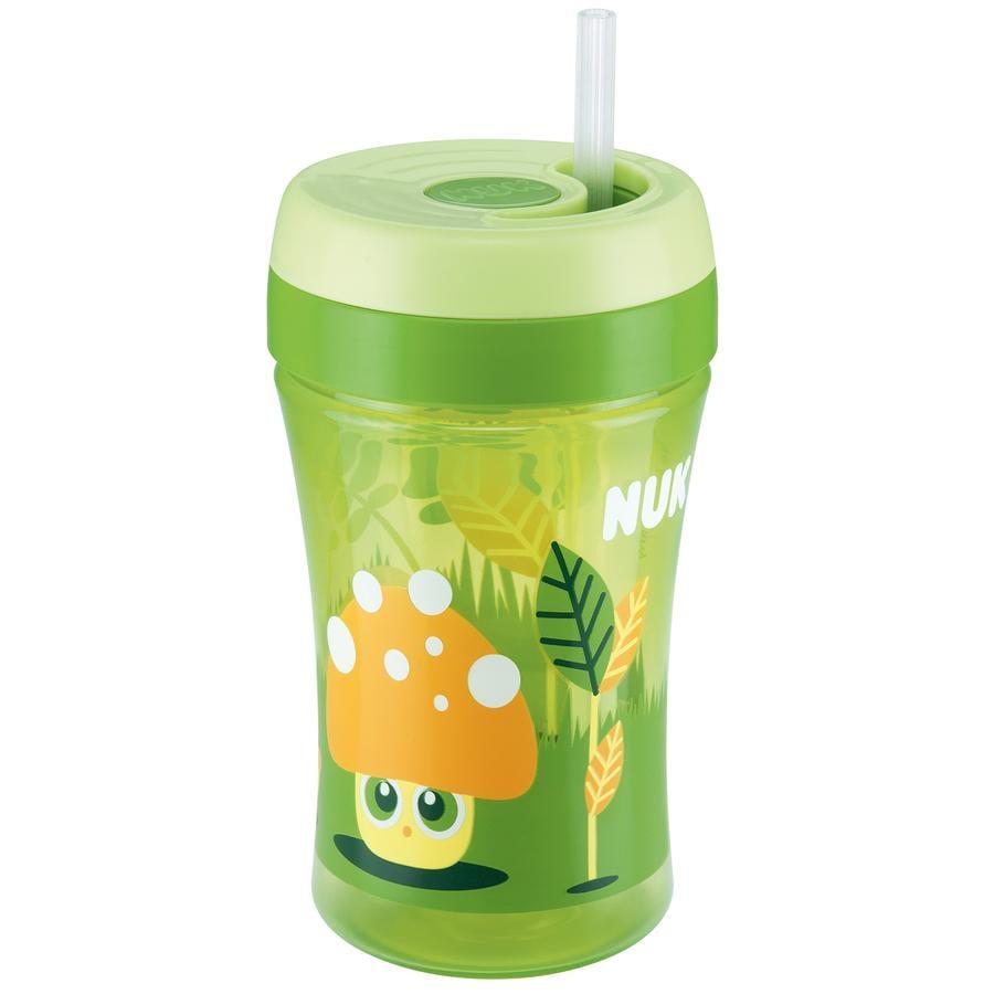 NUK Hrníček Easy Learning Cup Fun 300ml zelený, jemné brčko ze silikonu