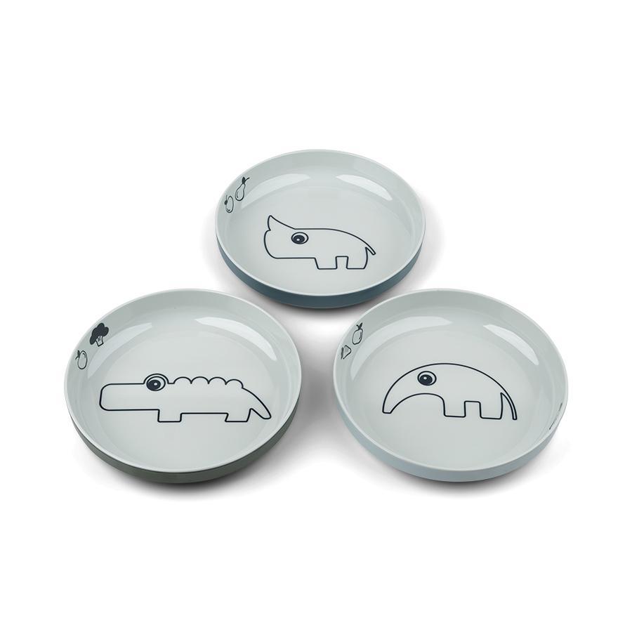 Done by Deer™ Yummy mini Teller 3-er Pack Deer friends in blau
