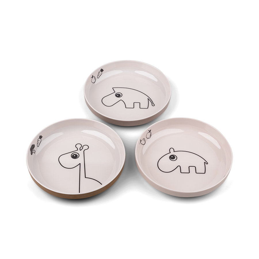 Done by Deer™ Yummy mini Teller 3-er Pack Deer friends in rosa