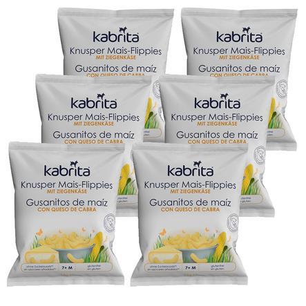 kabrita Knusper Mais-Flippies mit mildem Ziegenkäse 6 x 15 g ab dem 7. Monat
