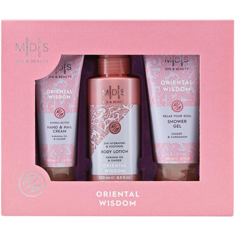 MADES SPA & BEAUTY Boîte luxueuse, 1x gel douche, 1x lotion pour le corps, 1x crème pour les mains/les ongles, (25x21x6 cm), SAGESSE ORIENTALE