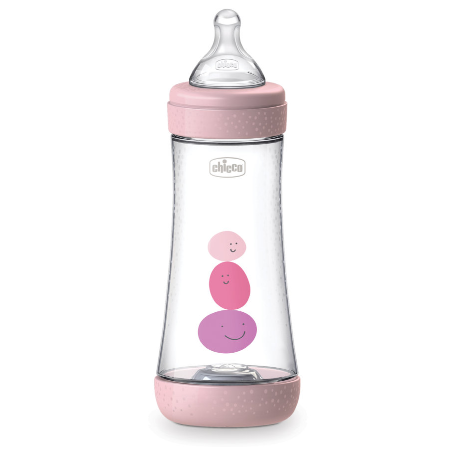 chicco Babyflaske Perfect Silicone, 300 ml, Fast Flow, pige, 4M+