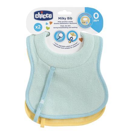 chicco voedings- en kwijlslabbetje + fopspeenband, light blauw + geel, 2 stuks