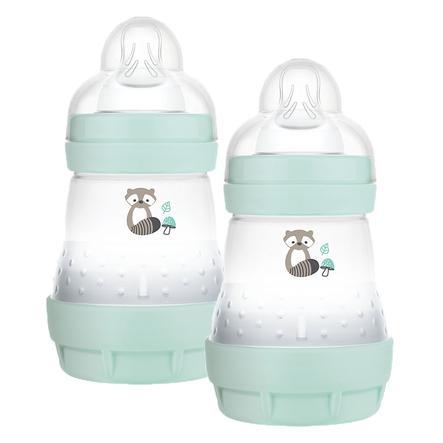MAM Babyflasche Easy Start Anti Colic-Elements 160 ml Waschbär in mint, 2er Pack