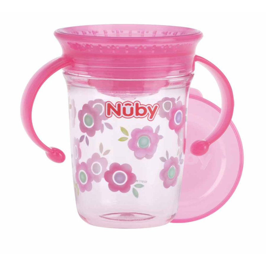 Nûby 360° tuitbeker WONDER CUP 240 ml tritan van Eastman in roze