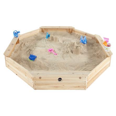plum® Gigantischer Kinder Sandkasten aus Holz mit Bänken und Schutzhülle