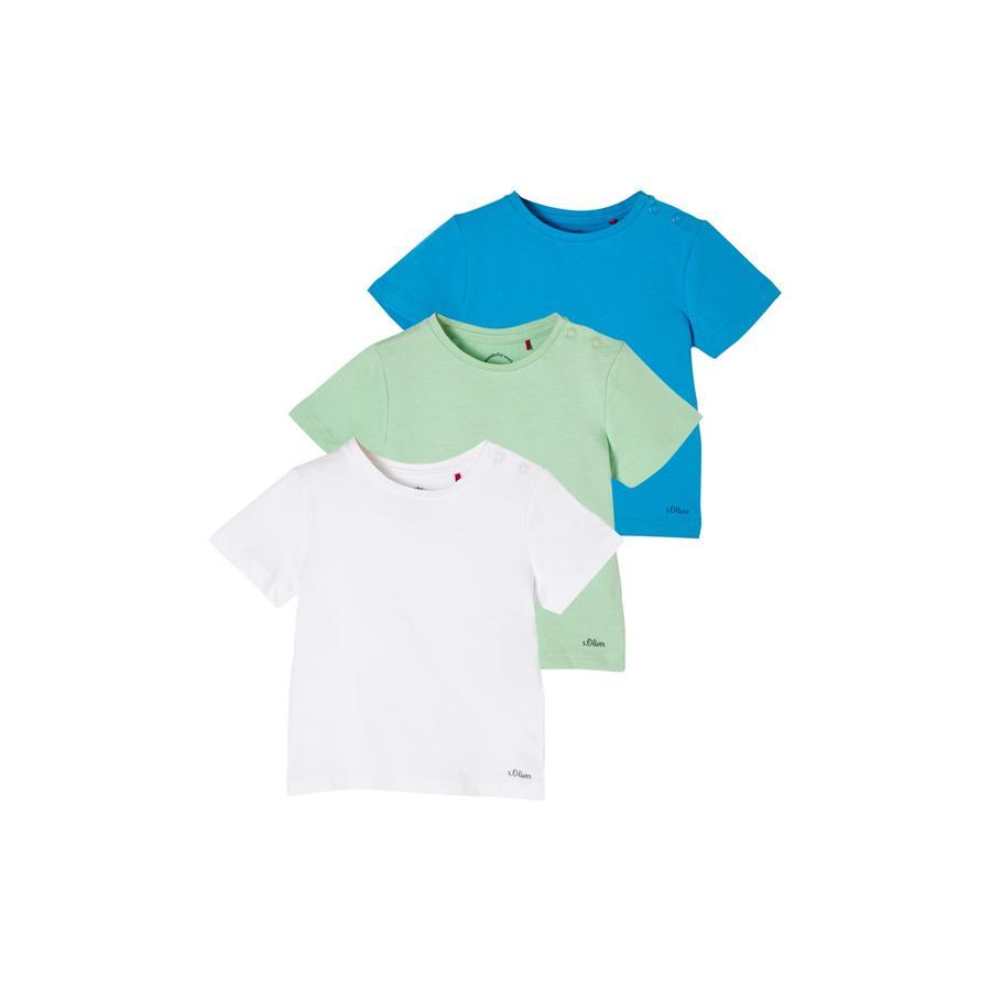 s. Olive r Tričko 3-pack white / light green / tyrkysová