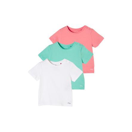 s.Oliver T-Shirt 3er Pack white/petrol/pink