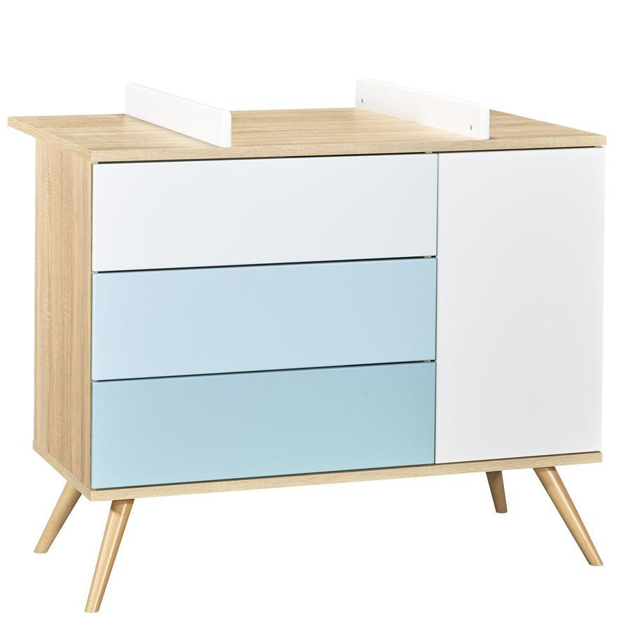 Sauthon Commode à langer Seventies 1 porte, 3 tiroirs bois bleu