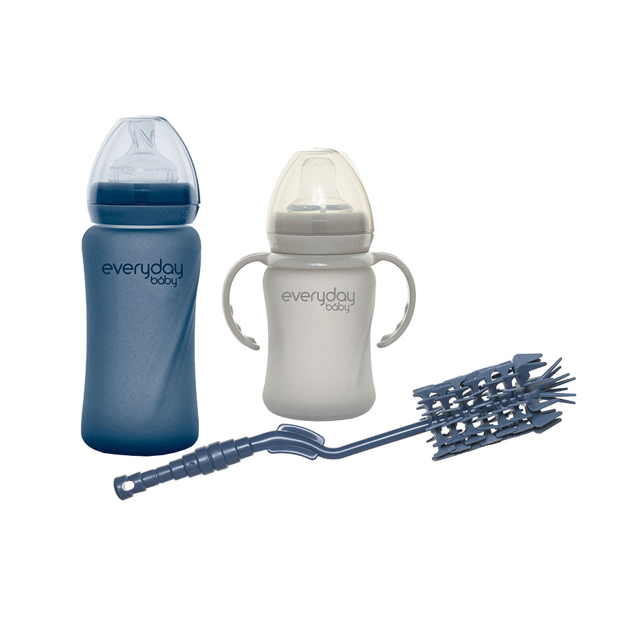 everyday Baby Flaschen-Set mit Bürste in blueberry und grey