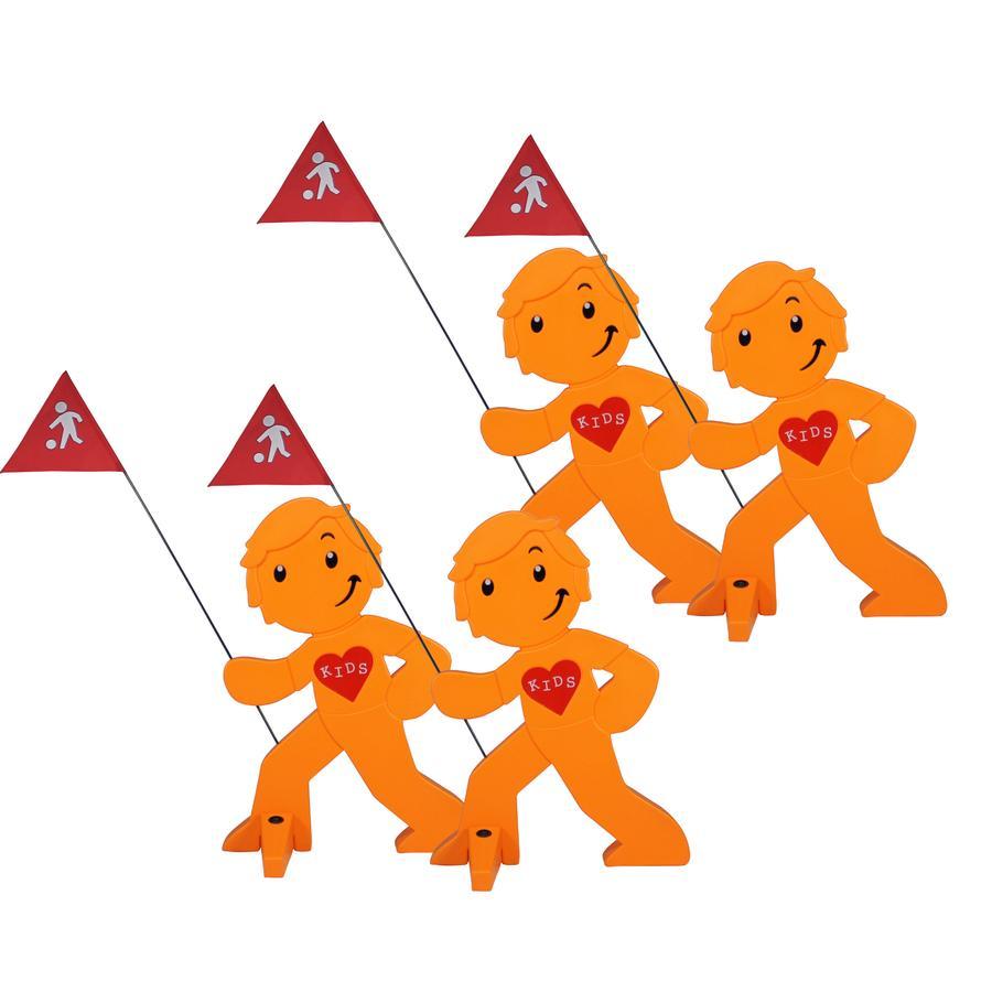 BEACHTREKKER Streetbuddy Warnfigur für mehr Kindersicherheit - orange 4er Set