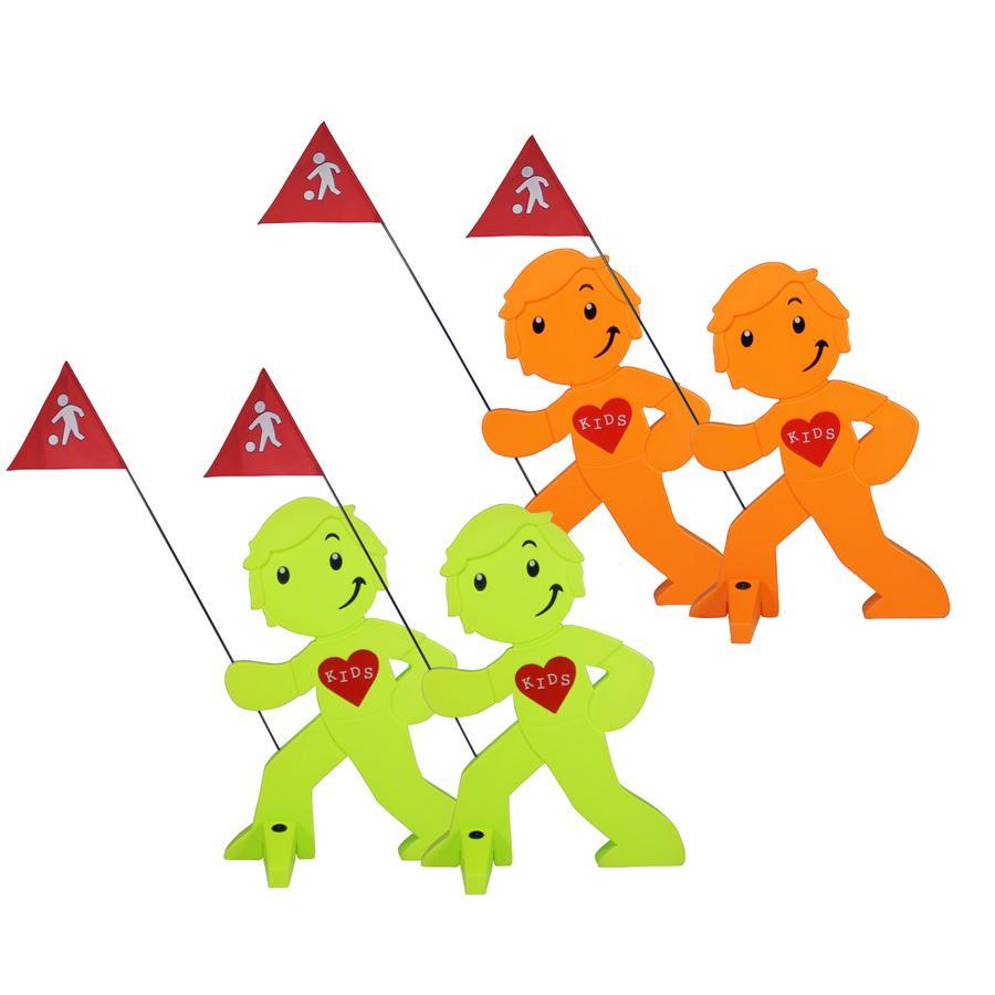 BEACHTREKKER Streetbuddy Warnfigur für mehr Kindersicherheit - grün/orange 4er Set