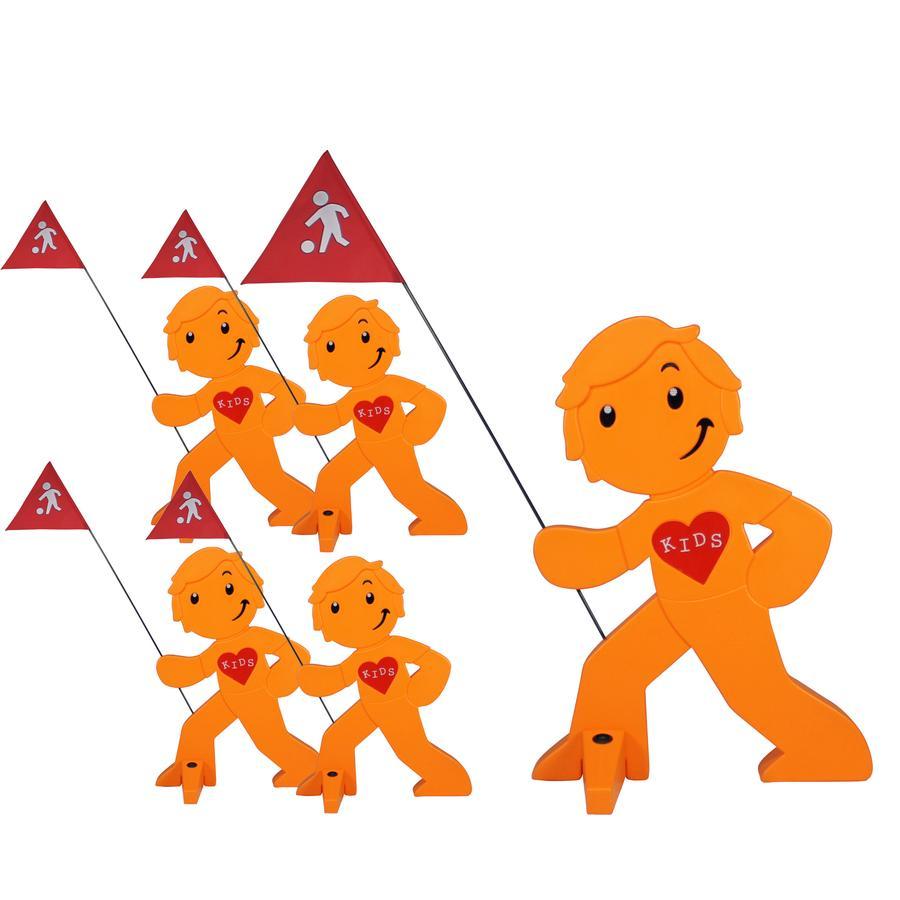 BEACHTREKKER Streetbuddy Warnfigur für mehr Kindersicherheit - orange 5er Set