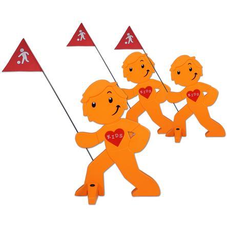 BEACHTREKKER Streetbuddy Warnfigur für mehr Kindersicherheit - orange 3er Set