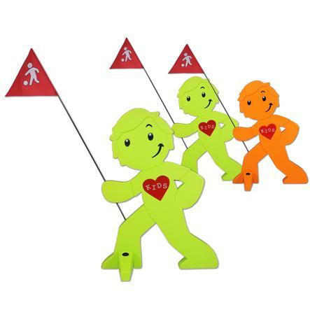 BEACHTREKKER Streetbuddy Warnfigur für mehr Kindersicherheit - 3er Set - 2x grün 1x orange