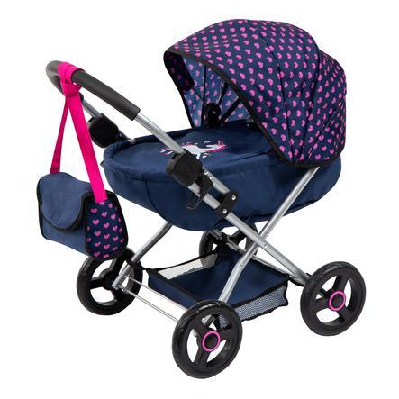 bayer Design Doll's barnevogn Koselig blå enhjørning