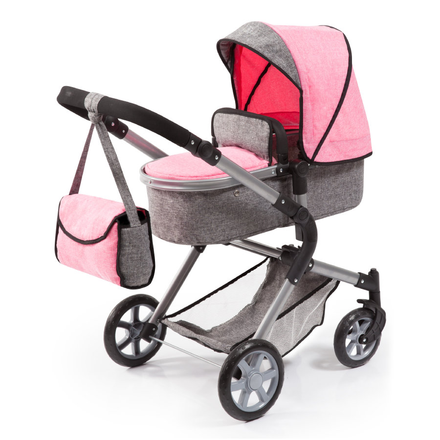 bayer Design Kočárek pro panenky City Neo šedý/růžový