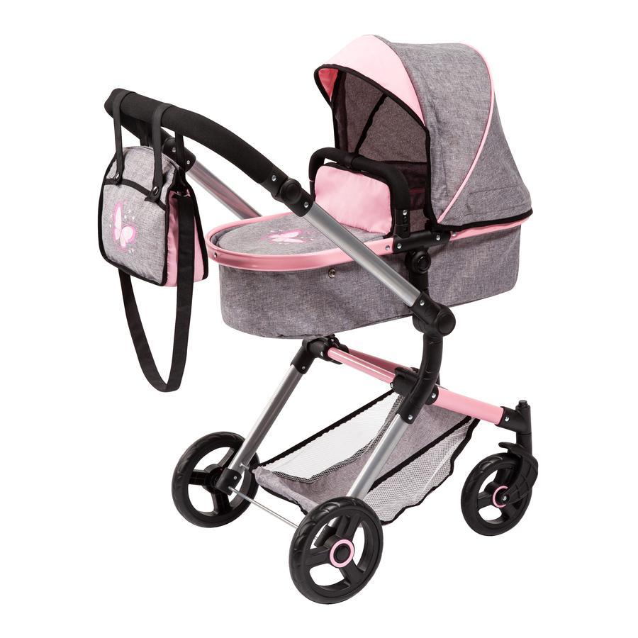 bayer Design Neo Vario kombinovaný kočárek pro panenky šedý/růžový, s motýlem