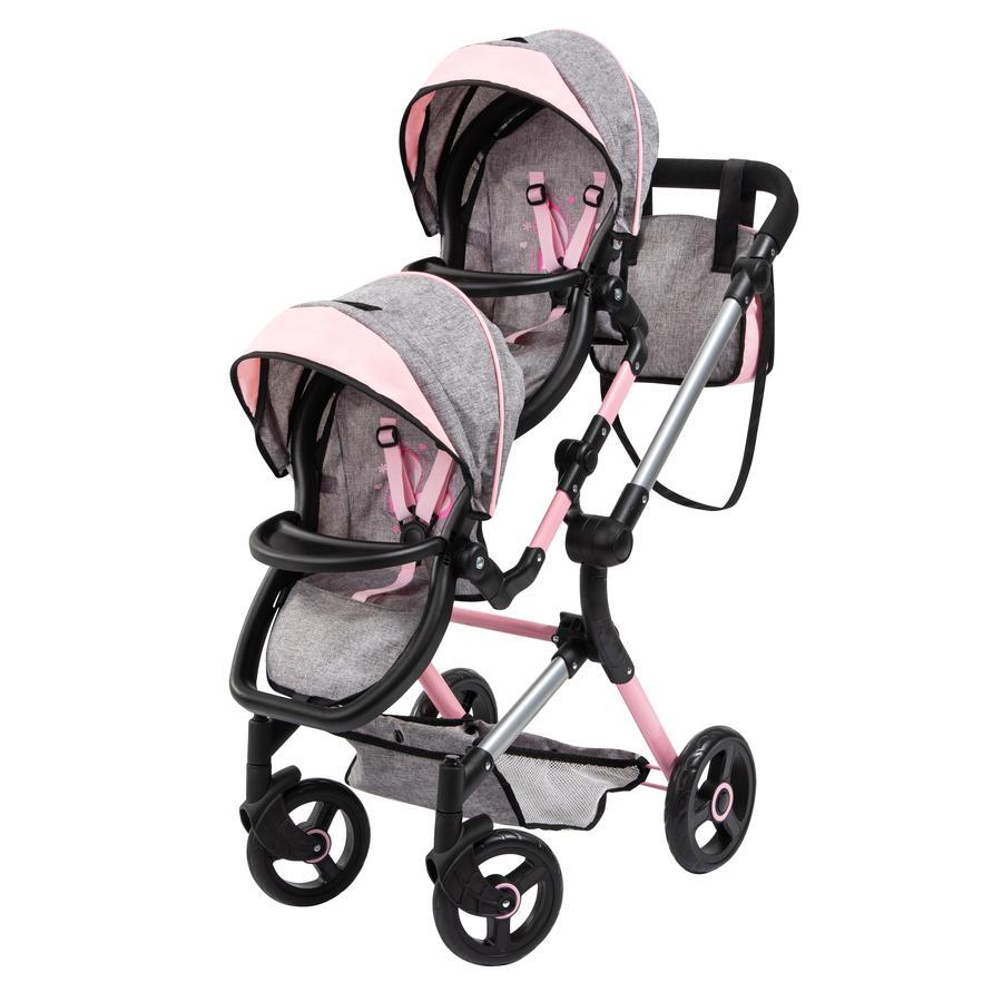 bayer Design Zwillings-Puppenwagen Twin Neo grau/rosa, mit Schmetterling