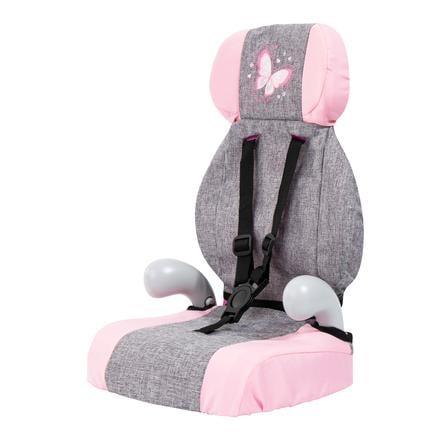 bayer Design Seggiolino auto per bambole Deluxe grigio/rosa, con farfalla
