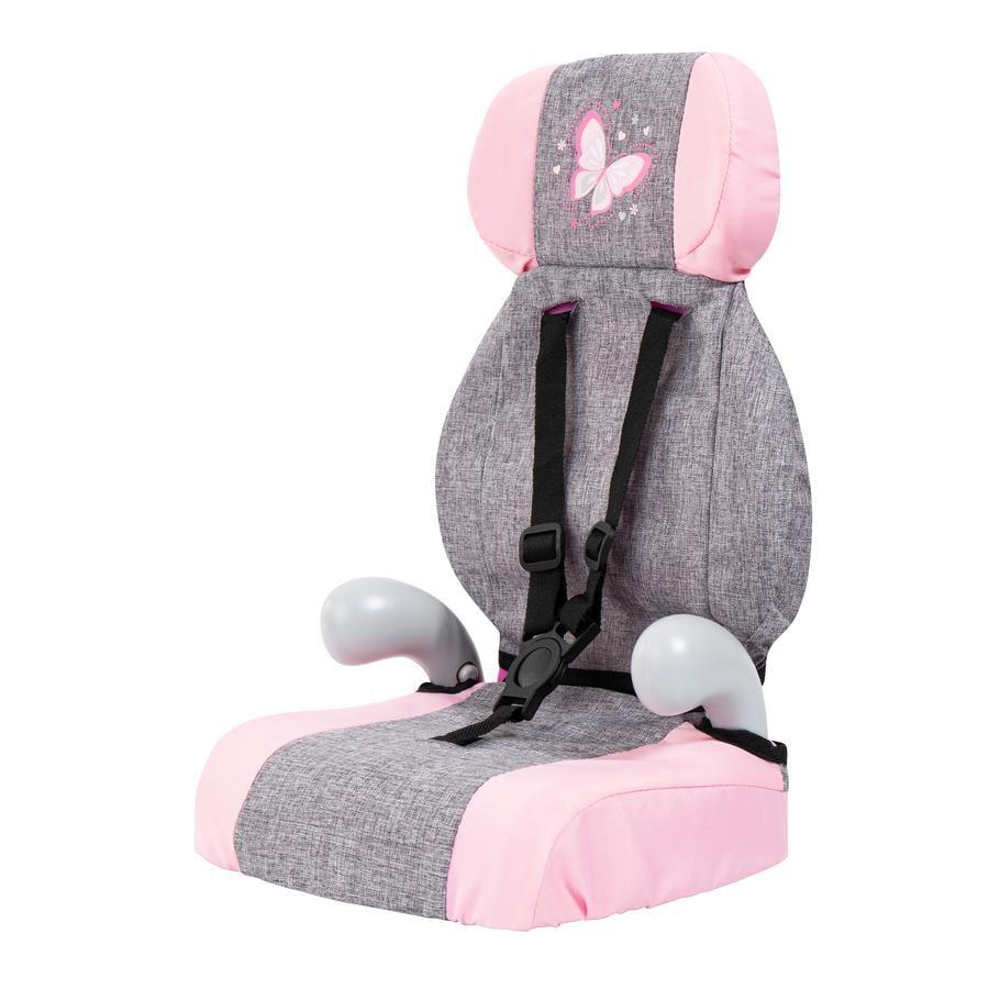 bayer Design Fotelik samochodowy dla lalek Deluxe szaro/różowy, z motylkiem