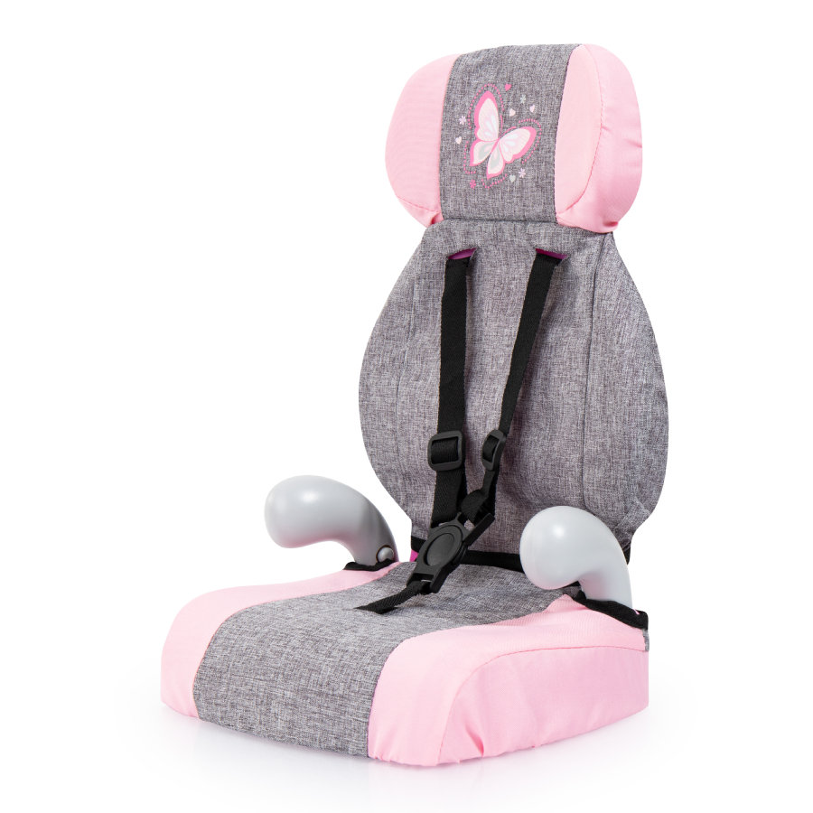 bayer Design poppenautostoeltje Deluxe grijs/roze, met vlinder
