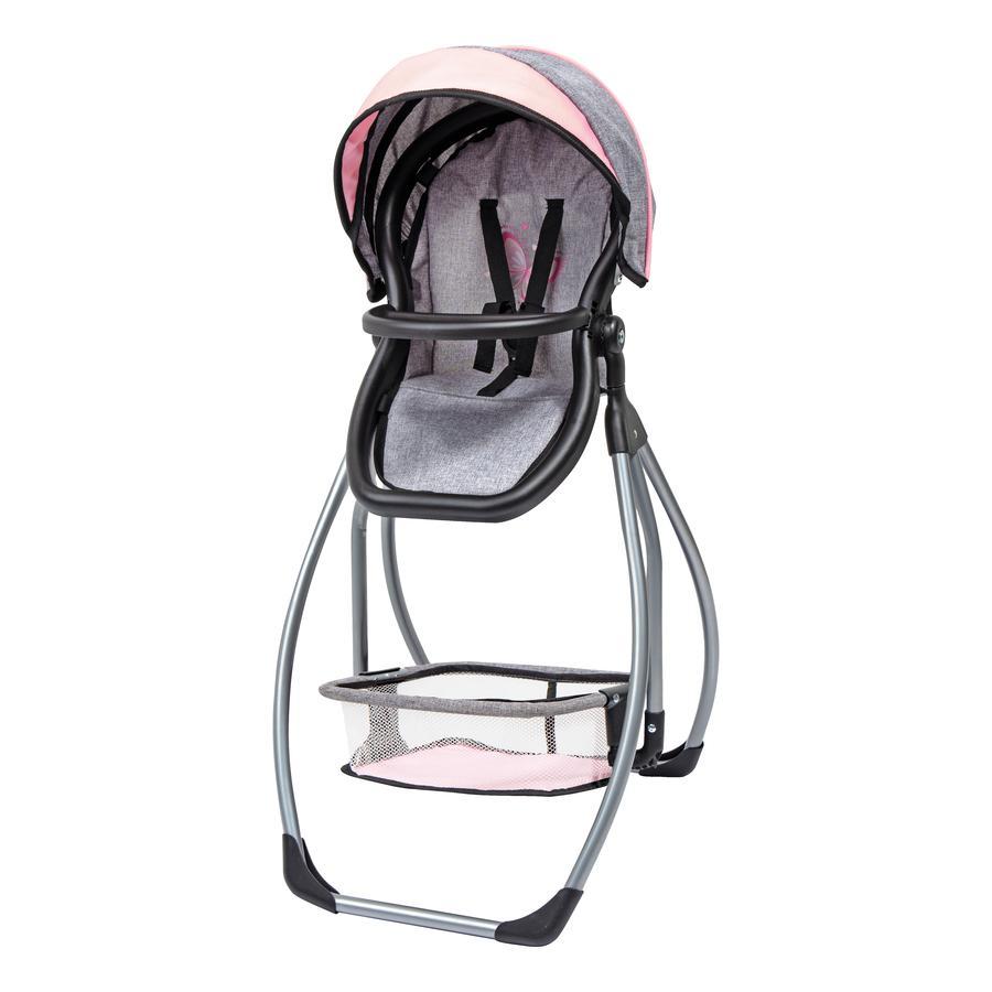 bayer Design Doll high chair Trio grå/rosa, med fjäril