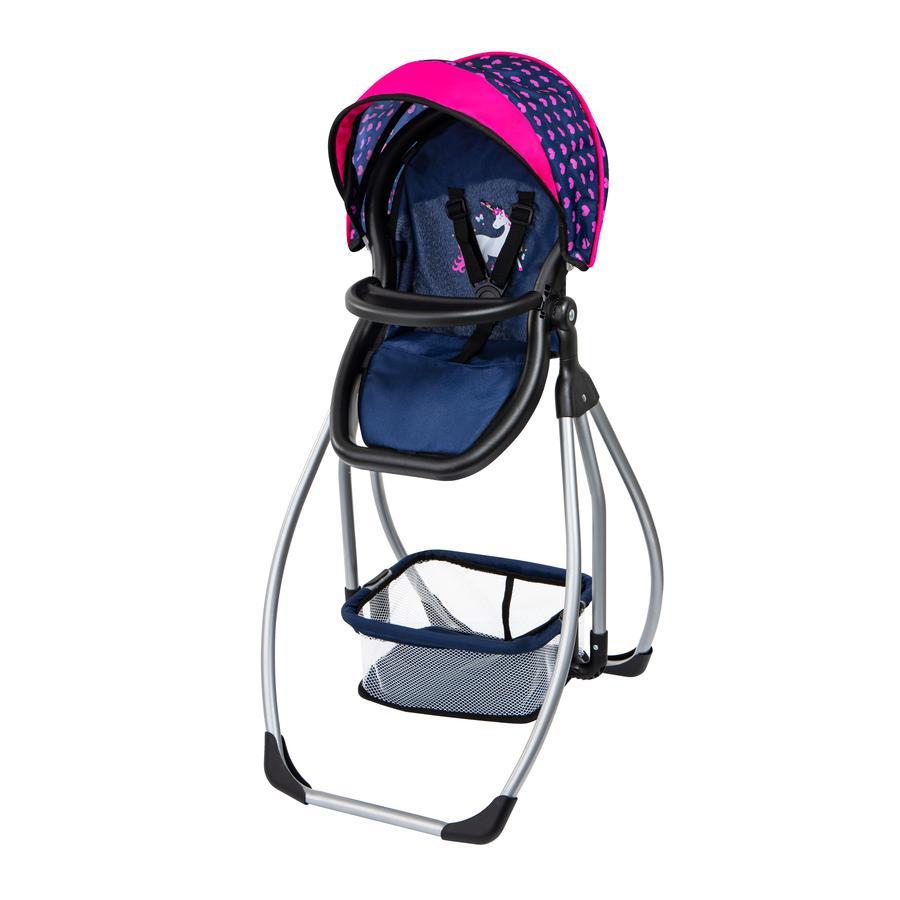 bayer Design Wysokie krzesełko dla lalek Trio niebieskie, z jednorożcem