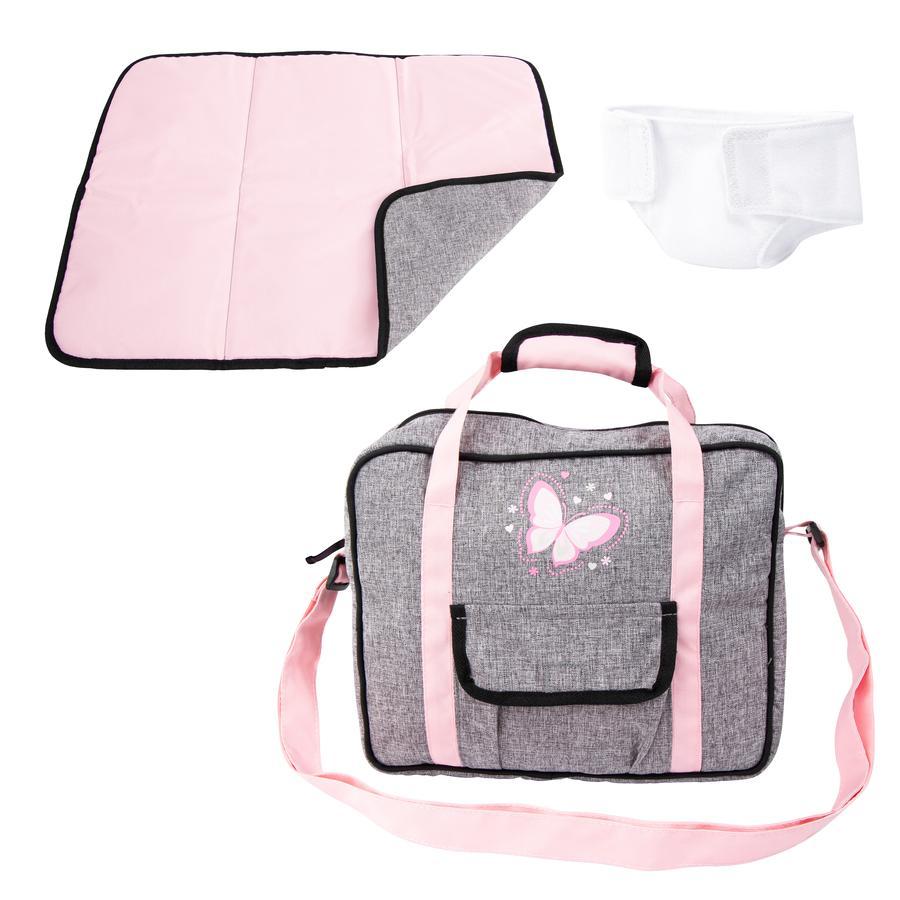 bayer Design Pflegetasche grau/rosa, mit Schmetterling