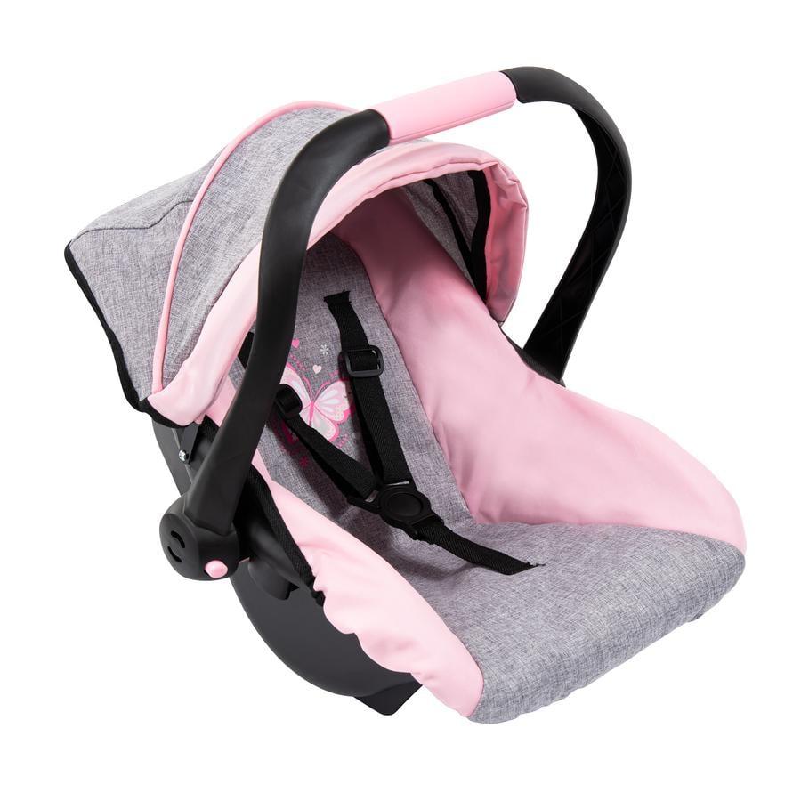 bayer Design Fotelik samochodowy dla lalek z dachem szaro/różowy, z motylkiem