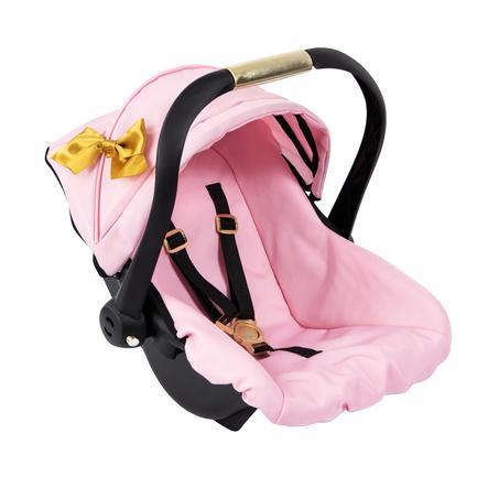 bayer Design Poppen autostoel met dak, roze/goud