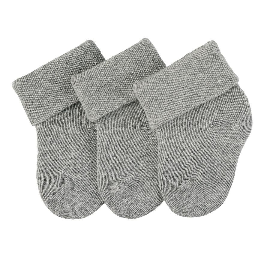 Sterntaler first socks 3-pack zilver gemêleerd