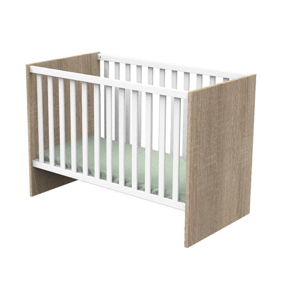 Sauthon Lit enfant à barreaux Nova bois blanc lin 60x120 cm