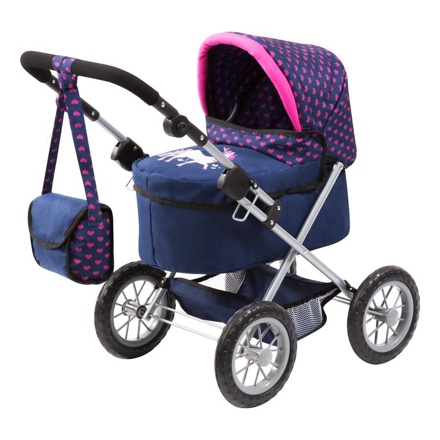 bayer Design Carrozzina per bambole Trendy blu, con unicorno