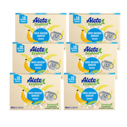 Alete Milch-Getreide-Mahlzeit Banane 6 x 400 ml (12 x 200 ml) ab dem 10. Monat